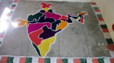 Chalk Art Map, Chennai is in the bright yellow.